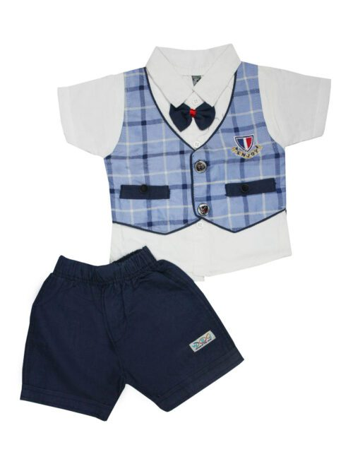 blue and navy blue boy suit