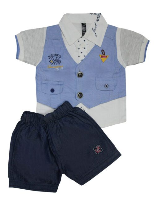 Sky blue and navy blue boy suit