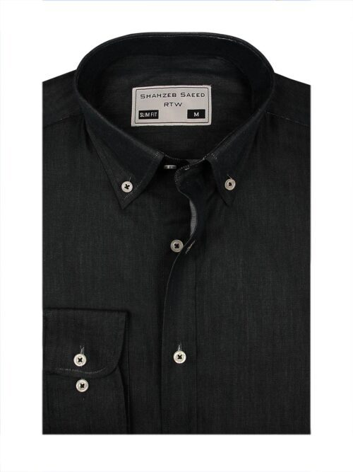 dark grey button down formal shirt