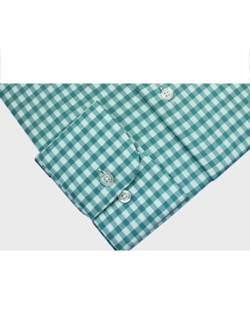 green and white checkered formal shirt