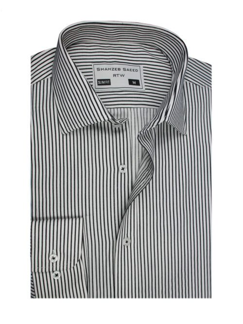 black stripped formal shirt