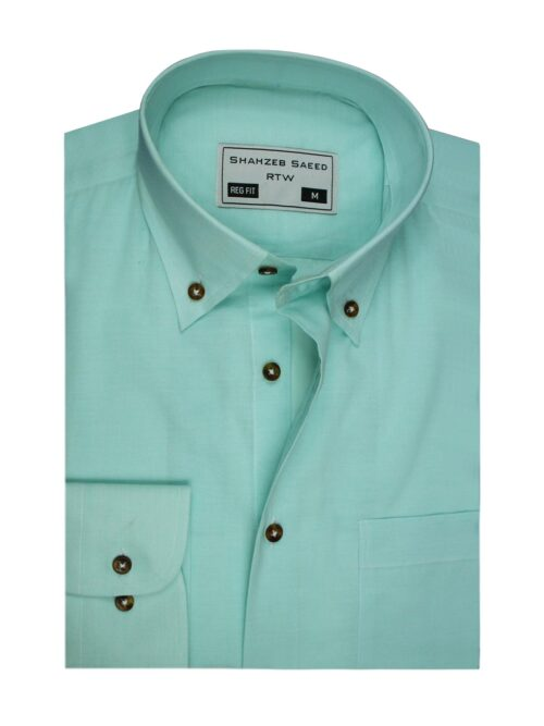 aqua green plain button down dress shirt