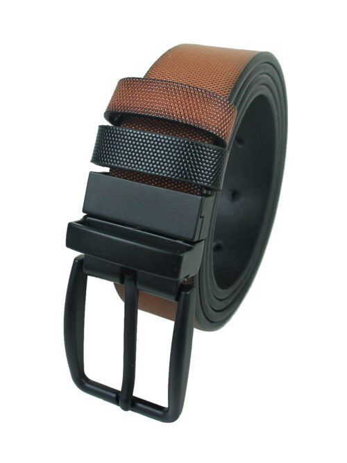 Mustard and Black leather belt