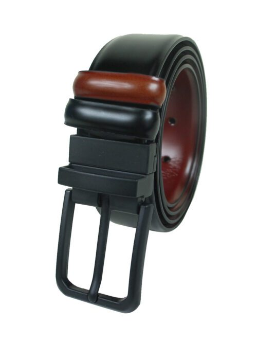 Maroon and Black leather belt