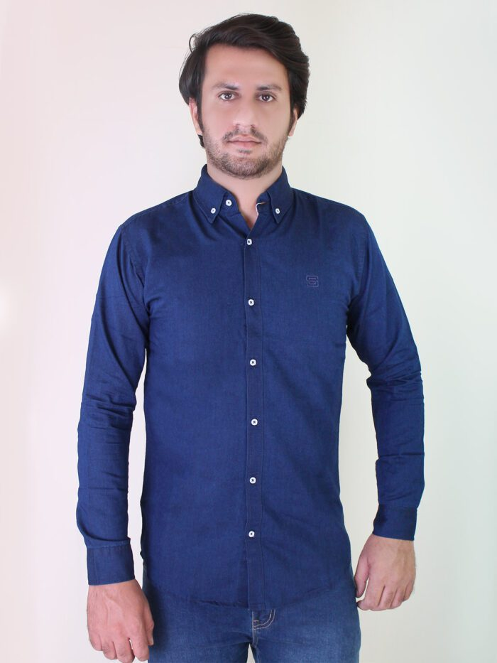 navy blue denim casual shirt