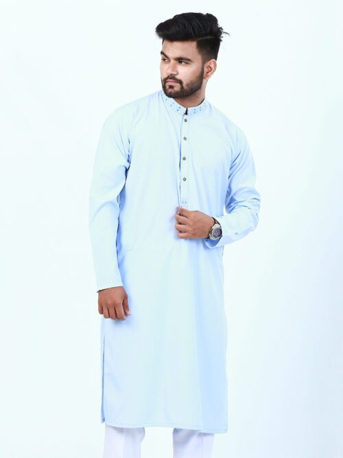 Sky blue embroidered kurta