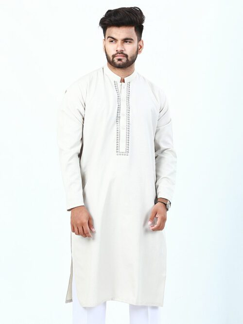 Fawn Embroidered Kurta