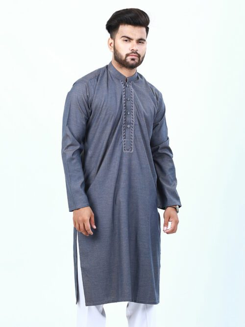 Dark Grey Embroidered Kurta