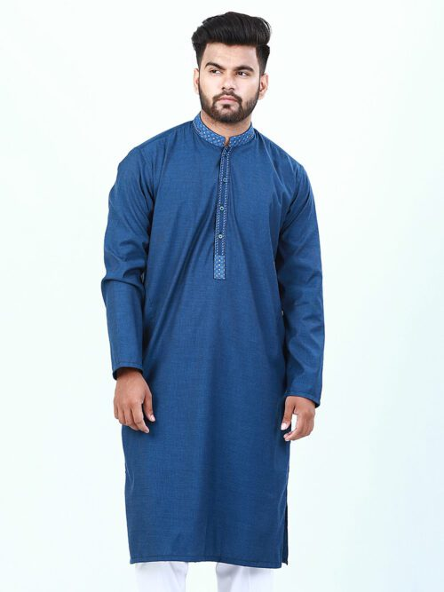 Dark Blue Embroidered Kurta