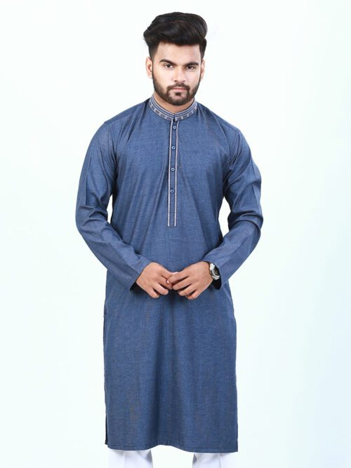 Ash Grey embroidered kurta