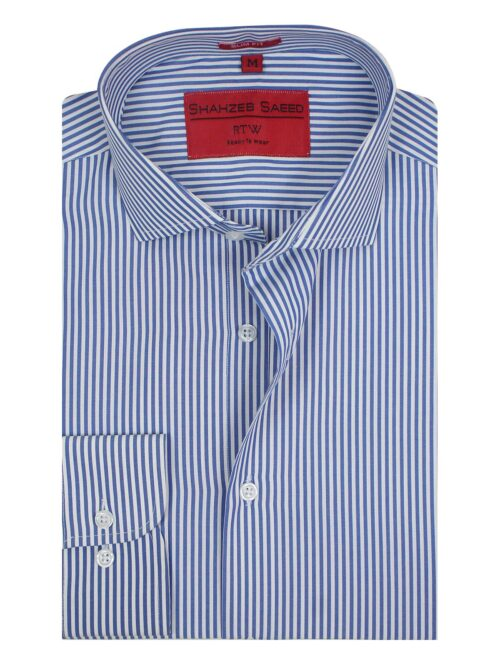 Dark Blue and white striped formal shirt