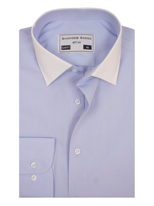 Light Purple Plain Formal Shirt with white contrast collar