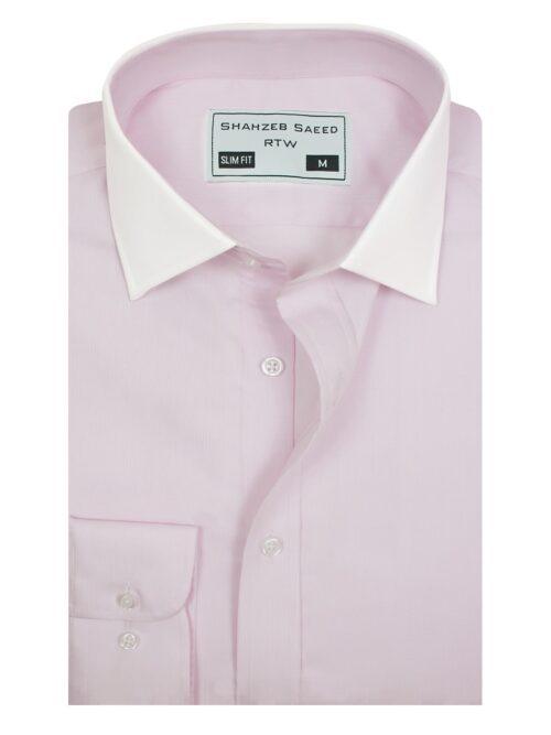 Light Pink Self Formal Shirt With White Contrast Collar