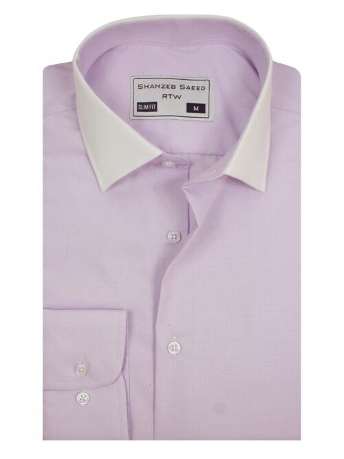 Pink Plain Formal Shirt with White Contrast Collar